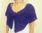 Spring wedding accessories purple hand knit capelet shawl bridesmaids gift purple wedding purple shawl
