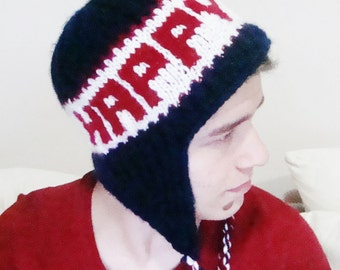 Birthday gift for men or women personalized hat 30th, 40th, 50th birthday gifts made to order hand knitted hat custom