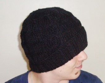 100 percent wool hat for mens hat - Cable Beanie in black knit hat mens Hat - Mens Accessories Winter Hat