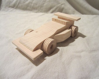 Wooden Indy Race Car toy boy girl child toddler fun new il dekalb wheels pine push pull