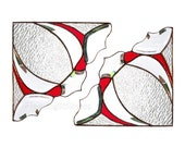 PAIR Red Stained Glass Window Valance Victorian Window Corners BevelsGift for Grandma