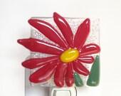Red Flower Night Light Fused Glass Flower Easter Nightlight Handmade OOAK