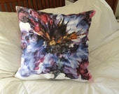Decorative Pillow 18 x 18 inches with Schad Studio Sweet Pea painting printed on double sided Poly Twill Cover