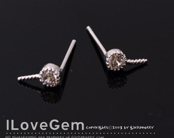 NP-1604 Rhodium Plated, 1-CZ, Clear, Earrings with a peg, 925 sterling silver post, 2pcs