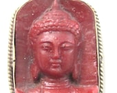Tibetan red color Buddha face pendant from Nepal - PS001B