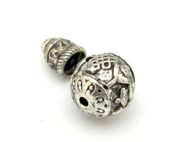 1 Guru bead set - Tibetan silver ashtamangala symbols 3 hole Guru bead 12 mm size and om mantra column bead - GB012