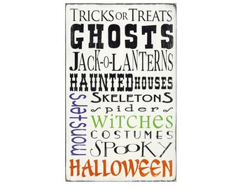 Halloween - Typography Word Art Sign in Weather Worn White Cottage Style