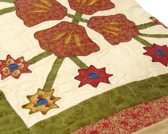 Traditional Table Topper/ Tablecloth/Quilted Throw with hand Embroidered  Flowers