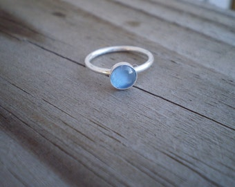 Blue Cubic Zirconia Stacking Ring, Sterling Silver, Size 5