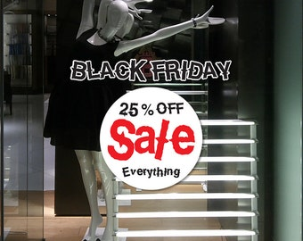 "22""W by 18""H Black Friday Sale Sign for shop window - vinyl sticker decal"
