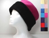 Two Tone Color Fleece Hat Womans Fleece Hat Winter Hat - Choose a Size and Color - Black Red Gray Grey Navy Blue Brown Green Ivory