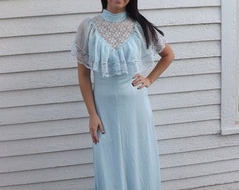 1970s Maxi Goddess Dress Lace Blue Formal Gown Vintage 70s XS XXS