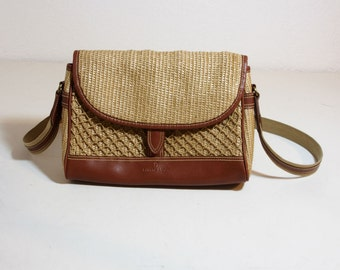 Vintage Etienne Aigner Tan Woven Crossbody Bag with Brown Leather Trim