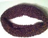 Purple with orange Crocheted Infinity Scarf Cowl