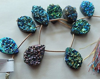 Gemstone Druzy Bead, Pearlized Druzy Agate, Blue   agate bead, briolette, Top drilled 14-19mm   Priced Per Bead