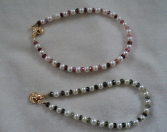Lovely Pink or Green Tourmaline and Freshwater Pearl Bracelets - EZ Clasp