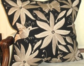 """BEIGE on Black Otomi Embroidered Pillow 20"""" X 20"""" Cover"""