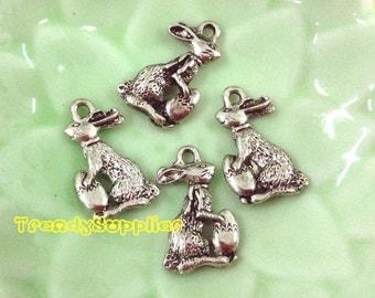Antique Silver Mini Rabbit Charm, 4 pcs