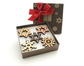 Reduced Price!  Mini Snowflake Wood Ornament Gift Box Set - Chocolate Gift Box - Sustainable Wisconsin Woods . Timber Green Woods