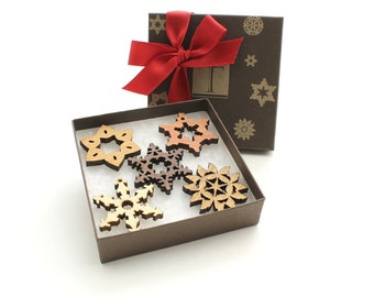 Mini Snowflake Wood Ornament Gift Box Set - Chocolate Gift Box - Sustainable Wisconsin Woods . Timber Green Woods