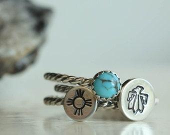 Southwestern Stacking  Ring Set, Turquoise Stacking Ring, Southwestern Design Ring, Native Symbol Ring