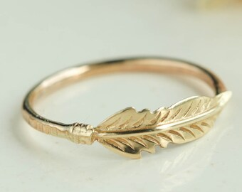 14k Gold Feather Ring,  Gold Feather Ring, Stacking Ring