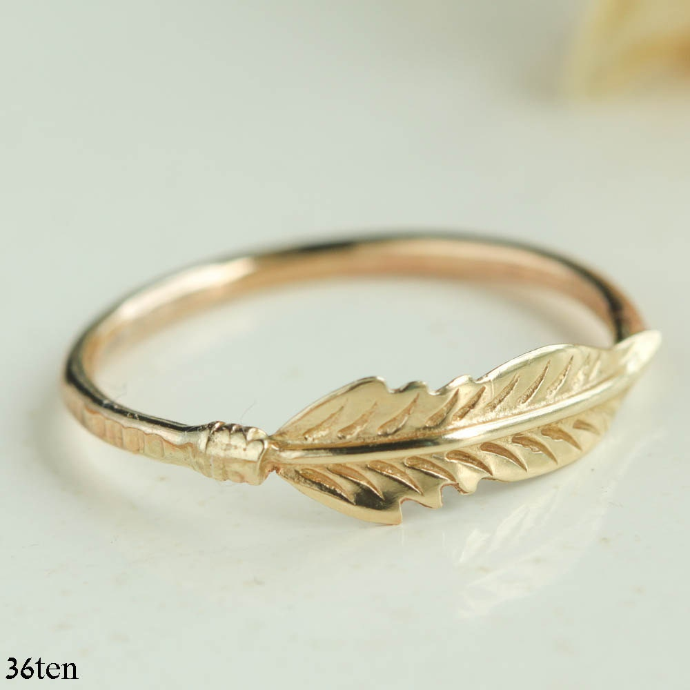 14k gold feather ring gold feather ring stacking ring