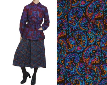 SALE 70s WOOL Paisley Preppy A Line Midi Skirt / L / Preppy High Waist Bright Purple Turquoise Pink Skirt