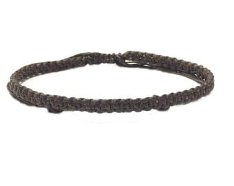 Classic Fair Trade Brown Wax Cotton Adjustable Handcrafted Thai Buddhist Wristband