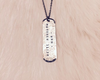 LONG DOG TAG : Custom Engraved Dog Tag Necklace