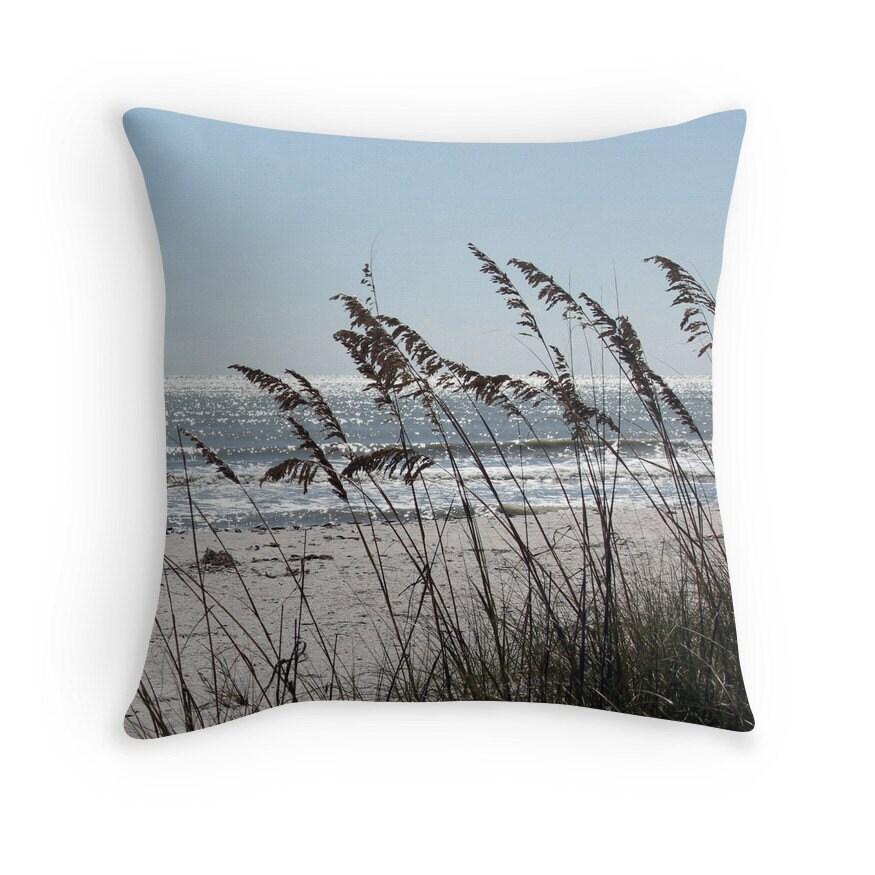 Beach Theme Pillow Cover Sea Oats Beach Photo Pillowcase