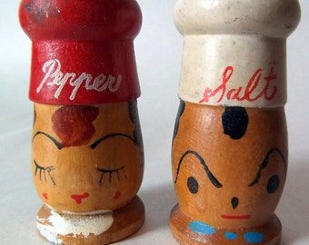 Vintage wood hand painted Salty and Peppy Salt & Pepper Shakers
