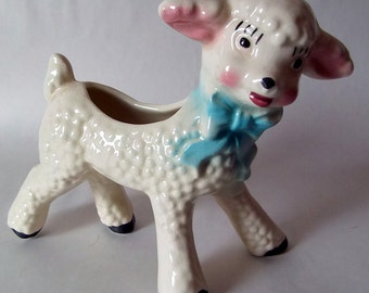 "Vintage hand painted child's 1950's kitsch 6"" Lamb Planter"