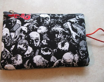 zombie faces print padded zipper bag