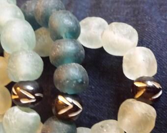 Trio Energy bracelet set / Blue Shades / Recycled Glass / Bracelet / Stretch / Stackables