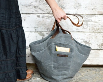 Womens Waxed Canvas Shoulder Bag, Gatherer Bag Slate, Grey Waxed Canvas Tote Bag, Canvas Bucket Bag, Handbag, Gift for Her, Gift for Her