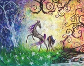 Ponies in a Mystical Forest Artist Print