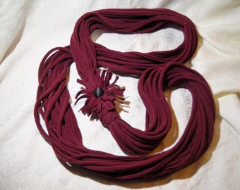 Maroon tee Shirt Scarf with shaggy Flower