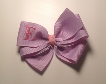 Lavender Purple Bow Monogrammed with Pink Initial by Cheryl's Bowtique
