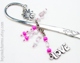 Love Charm Engraved Metal Bookmark. Pink Anniversary Gift for Her. Book Worm Love Charm. LBK055
