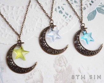 Antique Bronze Crescent Moon and Star Necklace, Bronze Moon Necklace, Bronze Star Necklace, Green Star Necklace, Crystal Blue Star Necklace