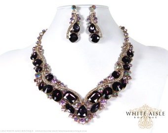 Purple Bridal Necklace, Wedding Jewelry Set, Crystal Bridal Statement Necklace Earrings, Bridal Earrings, Vintage Style