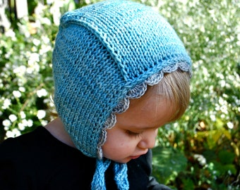 Made to Order Hand Knit Merino Wool Pilot Hat with Scalloped Edging- Newborn to Child Sizes
