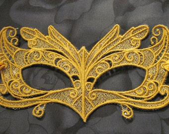 Wing-tipped Eyes Lace Mask in Old Gold color