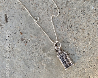 Don't Blink Doctor Who TARDIS Fine Silver Pendant with Sterling Silver Chain