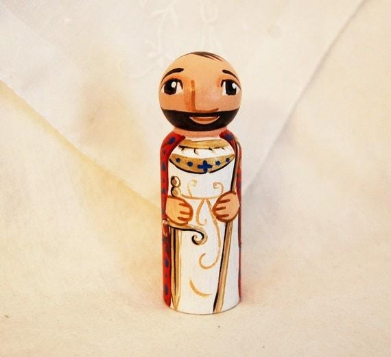 Saint Kilian Wooden Toy - Catholic Saint Doll - Made to Order