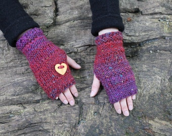 Fingerless gloves - Handknit mittens with wooden love heart shape  button in mixed red and purple