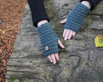 FINGERLESS GLOVES in blue/green, wooly gloves, arm warmers, autumn gloves, knitted womens mittens, knitwear UK, gift ideas