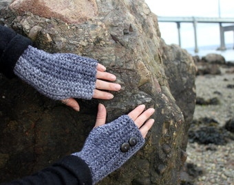 FINGERLESS GLOVES, GRAY mittens with buttons, gift for her, vegan knitwear