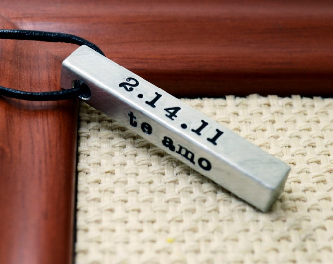 Personalized Bar Necklace For Men, Custom Bar Necklace, Personalized Necklace for Dad, Mens Jewelry, Custom Necklace for Men, 4 sided bar